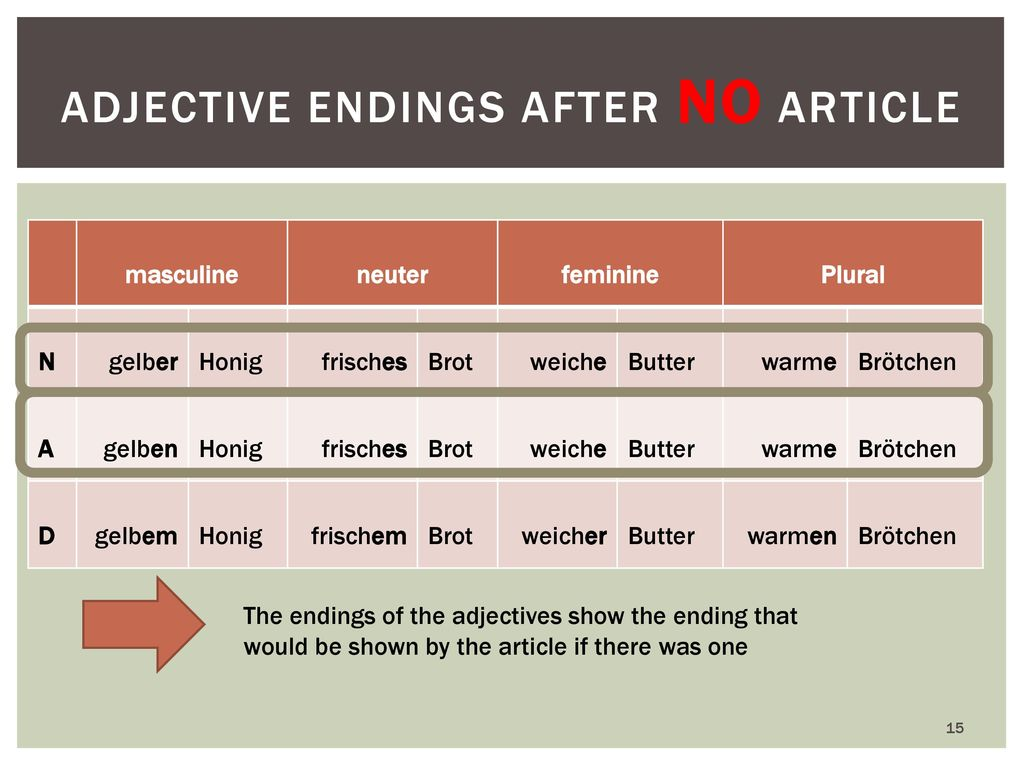 Adjective endings after NO article