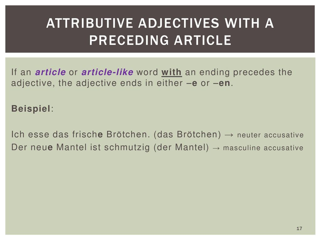 Attributive Adjectives with a preceding article