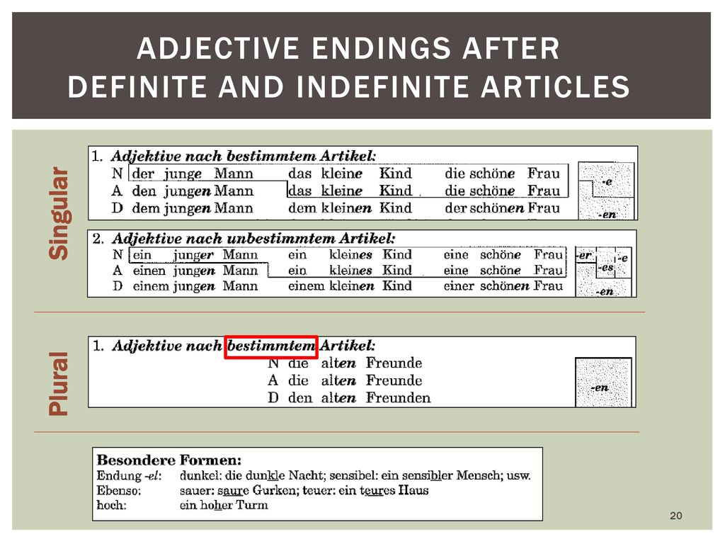 Adjective endings after definite and indefinite Articles