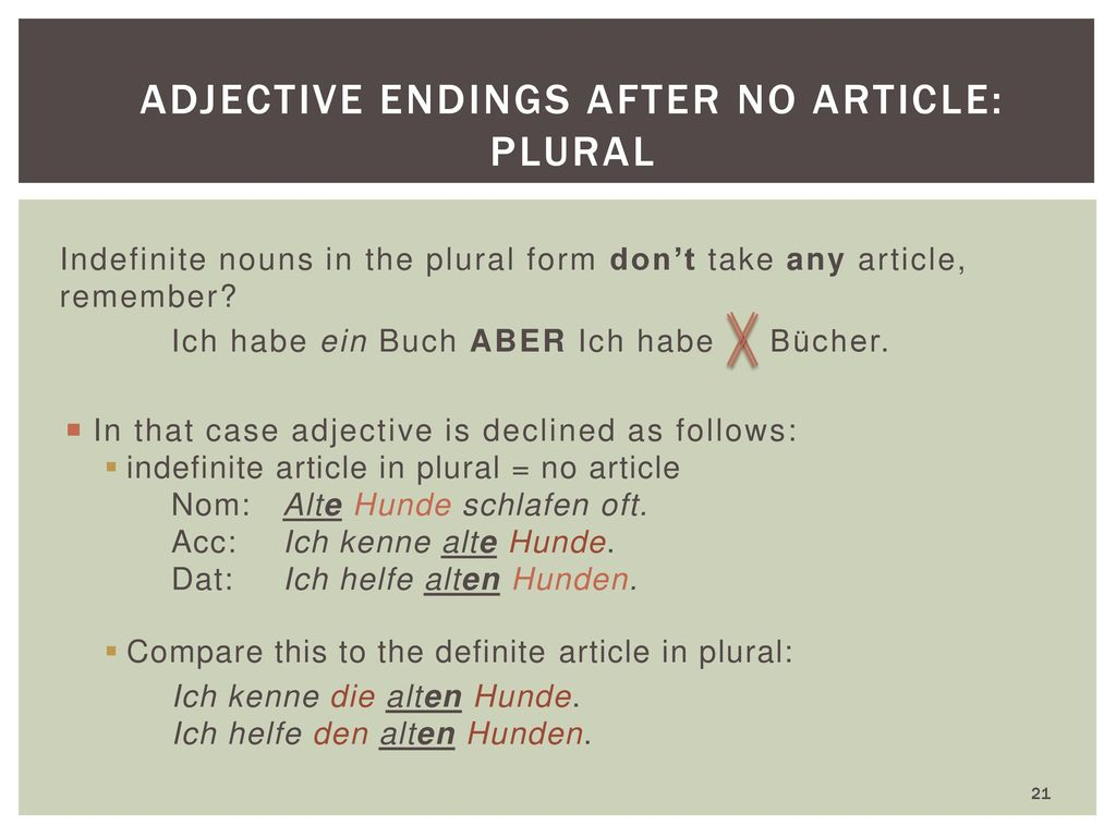 Adjective endings after no article: plural