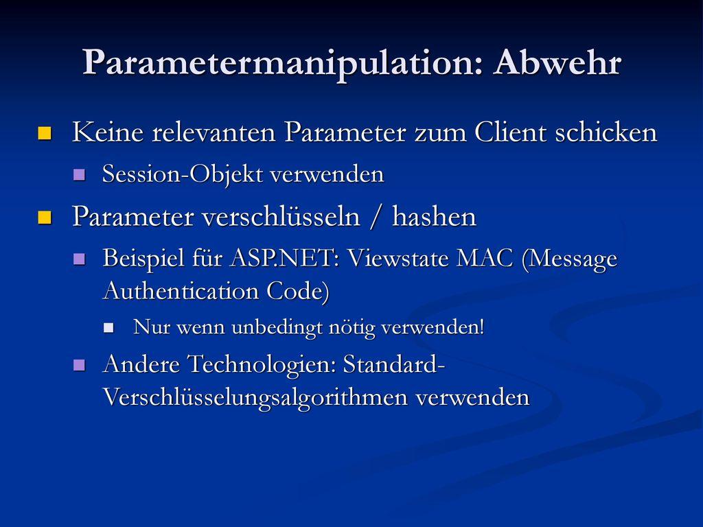 Parametermanipulation: Abwehr