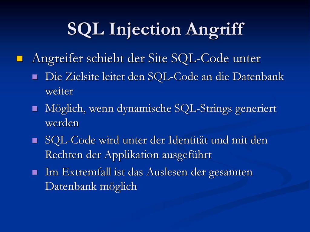 SQL Injection Angriff Angreifer schiebt der Site SQL-Code unter
