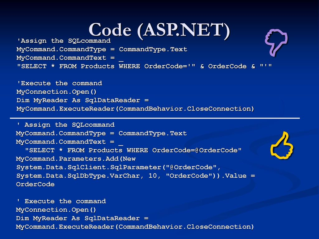   Code (ASP.NET) Assign the SQLcommand