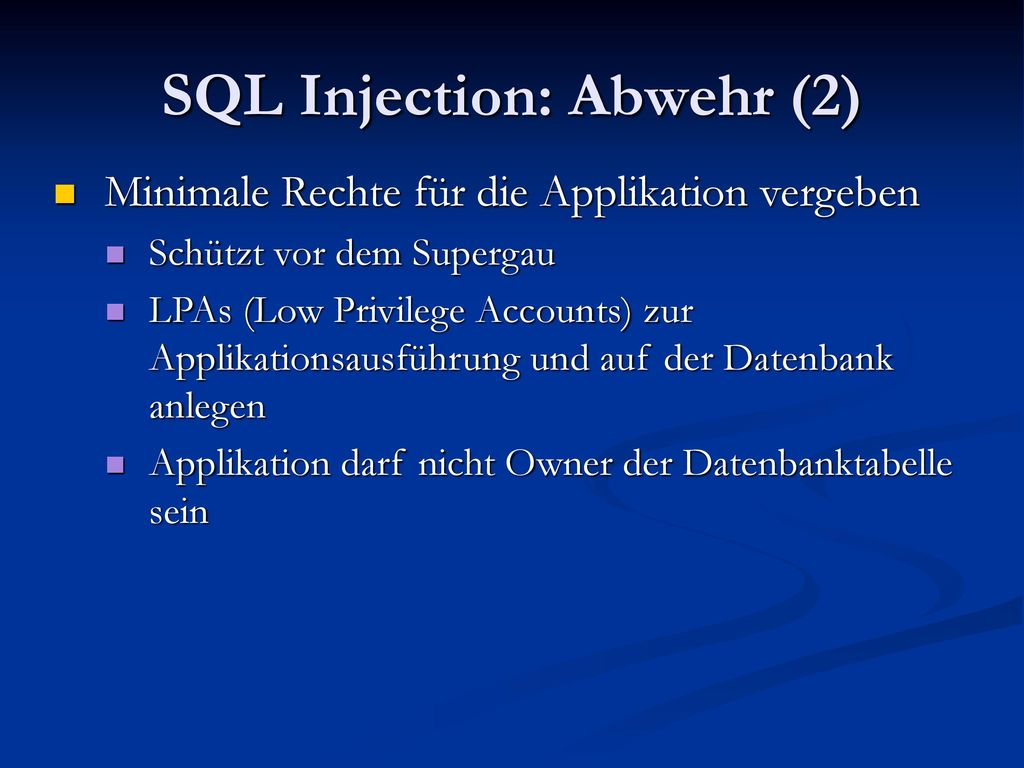 SQL Injection: Abwehr (2)