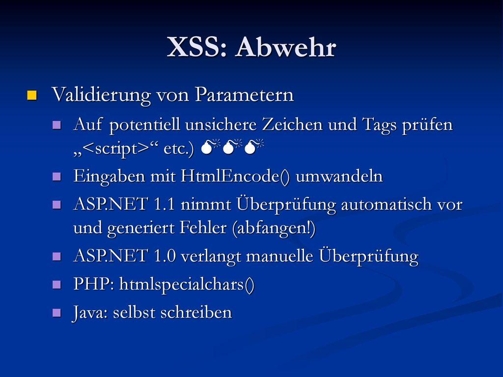 XSS: Abwehr Validierung von Parametern