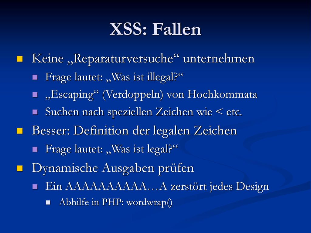 """XSS: Fallen Keine """"Reparaturversuche unternehmen"""