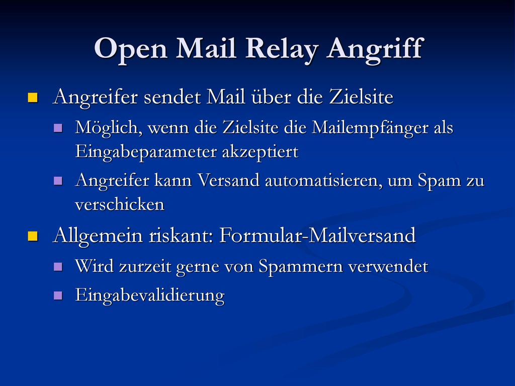 Open Mail Relay Angriff
