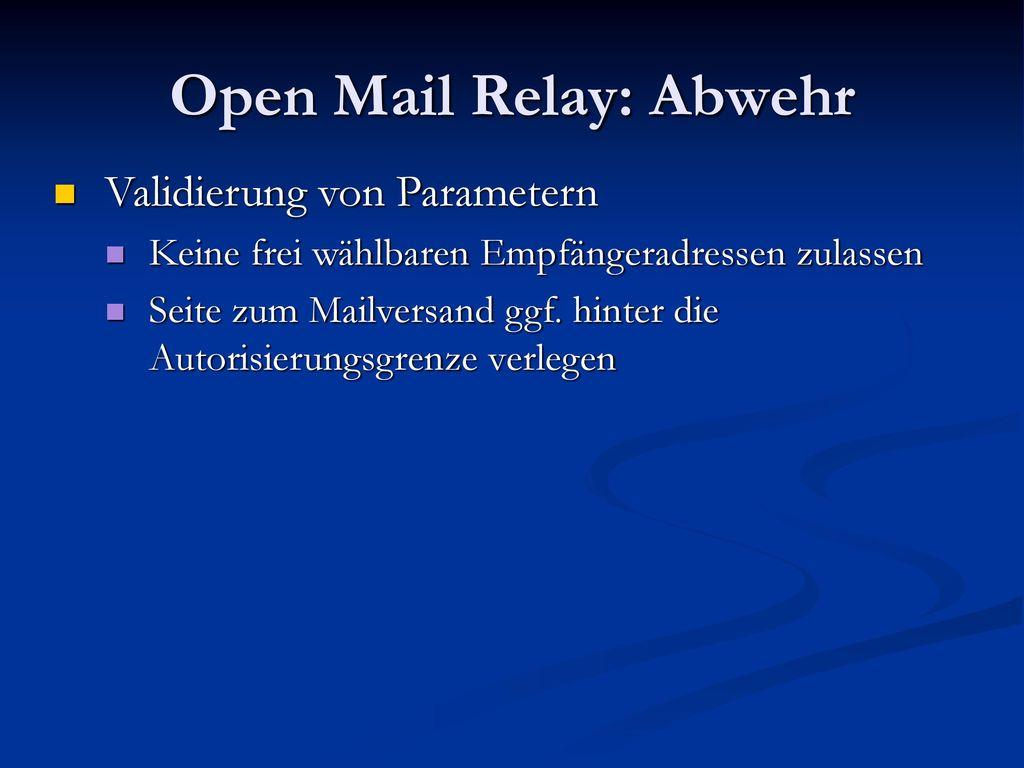 Open Mail Relay: Abwehr