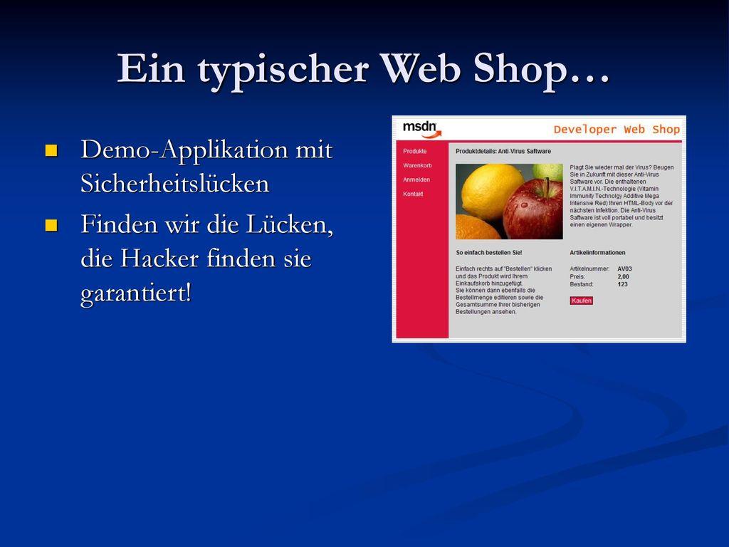Ein typischer Web Shop…