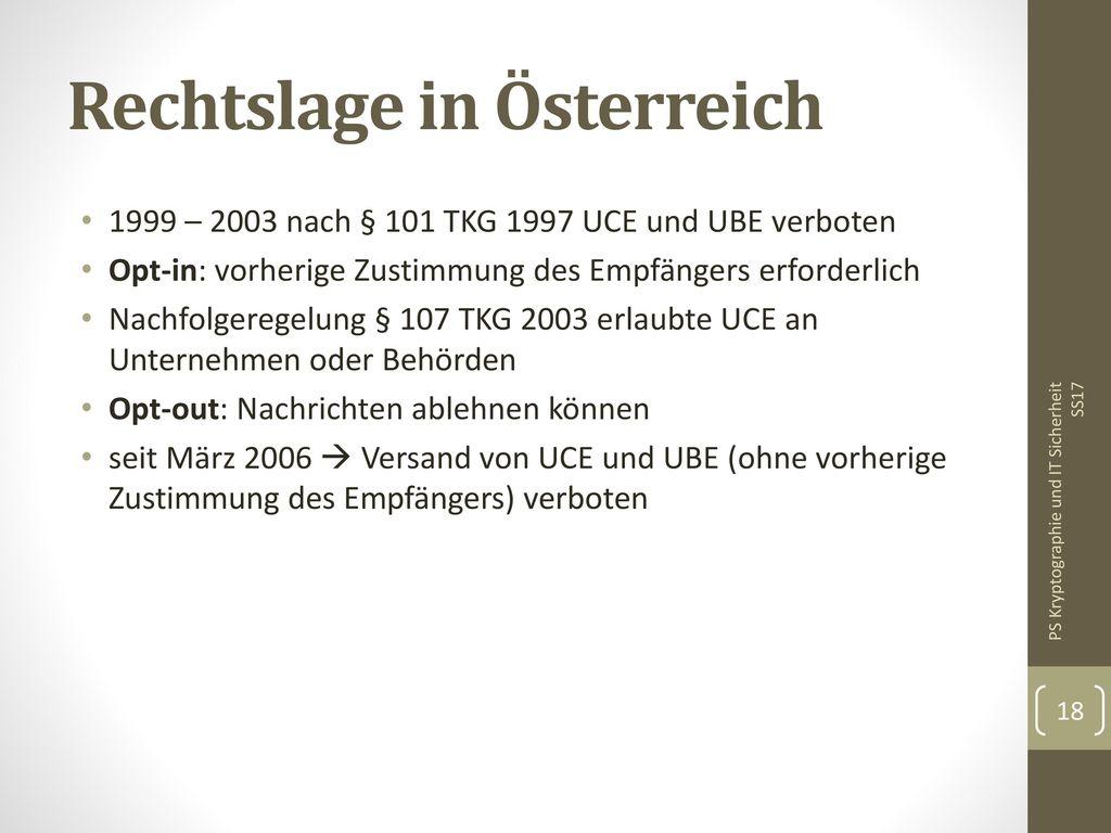 Rechtslage in Österreich