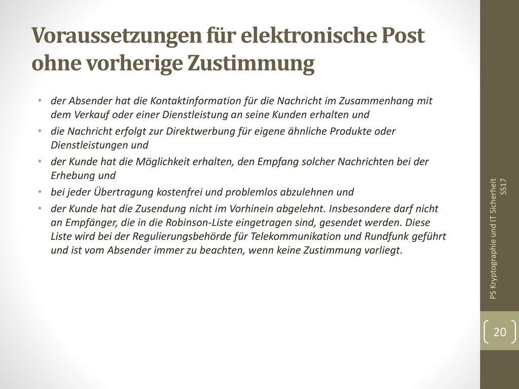 Voraussetzungen für elektronische Post ohne vorherige Zustimmung