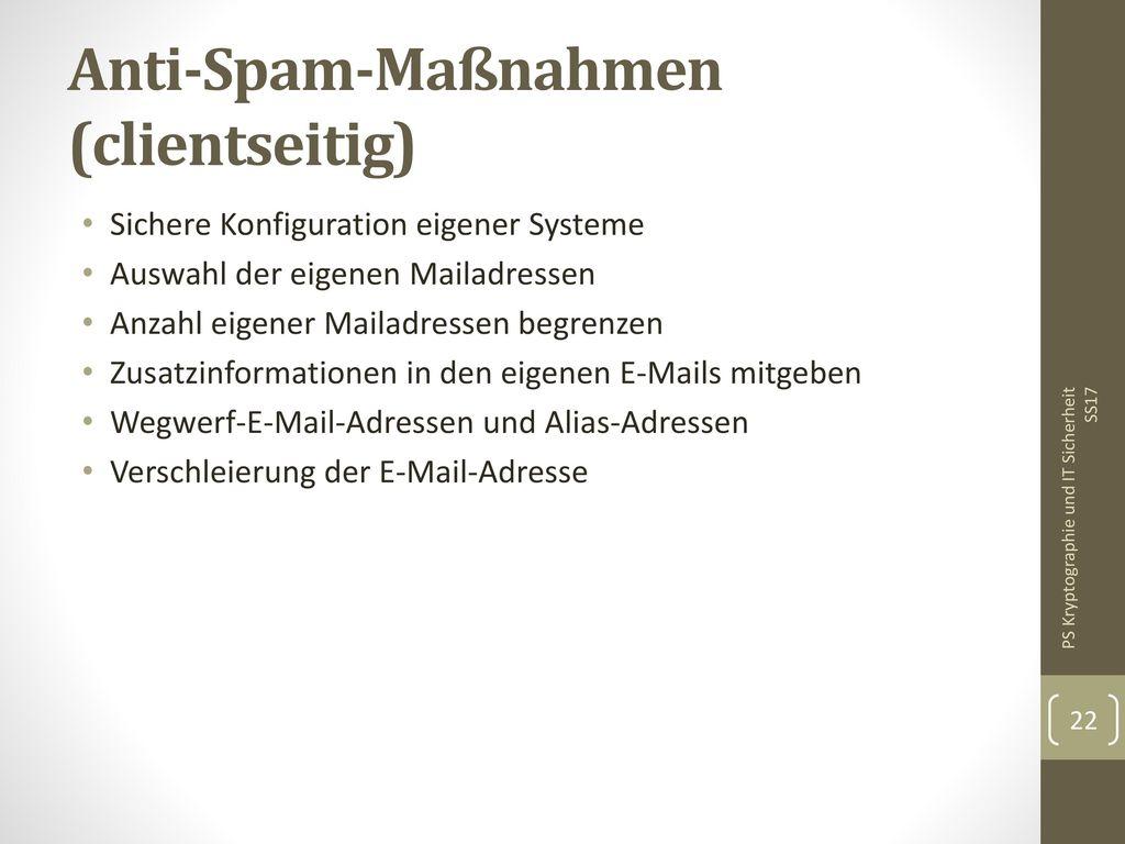 Anti-Spam-Maßnahmen (clientseitig)