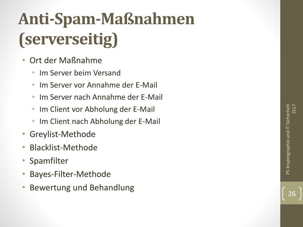 Anti-Spam-Maßnahmen (serverseitig)
