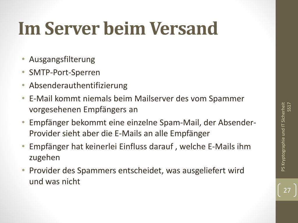 Im Server beim Versand Ausgangsfilterung SMTP-Port-Sperren