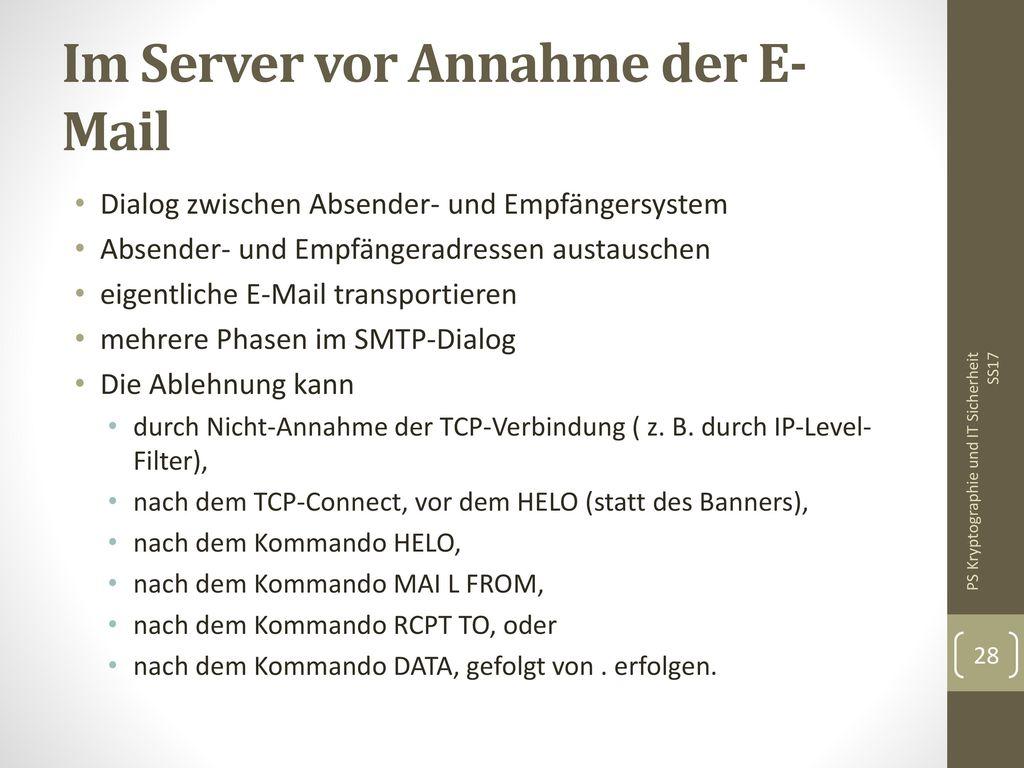 Im Server vor Annahme der E-Mail