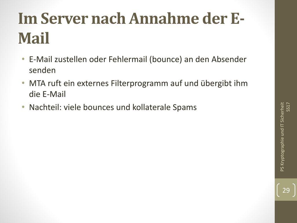 Im Server nach Annahme der E-Mail