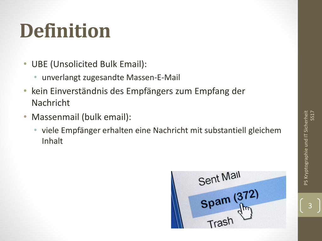 Definition UBE (Unsolicited Bulk Email):