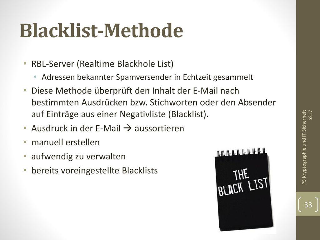 Blacklist-Methode RBL-Server (Realtime Blackhole List)