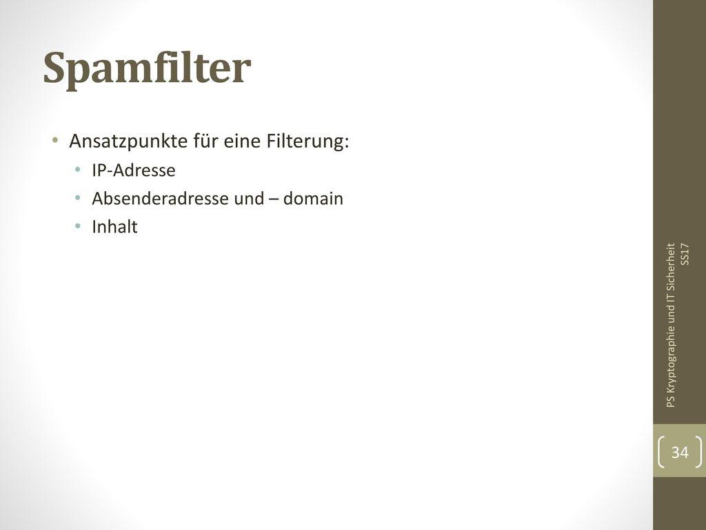 Spamfilter Ansatzpunkte für eine Filterung: IP-Adresse