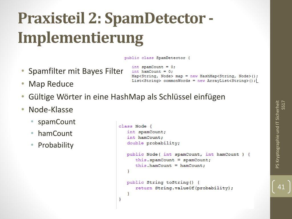 Praxisteil 2: SpamDetector - Implementierung