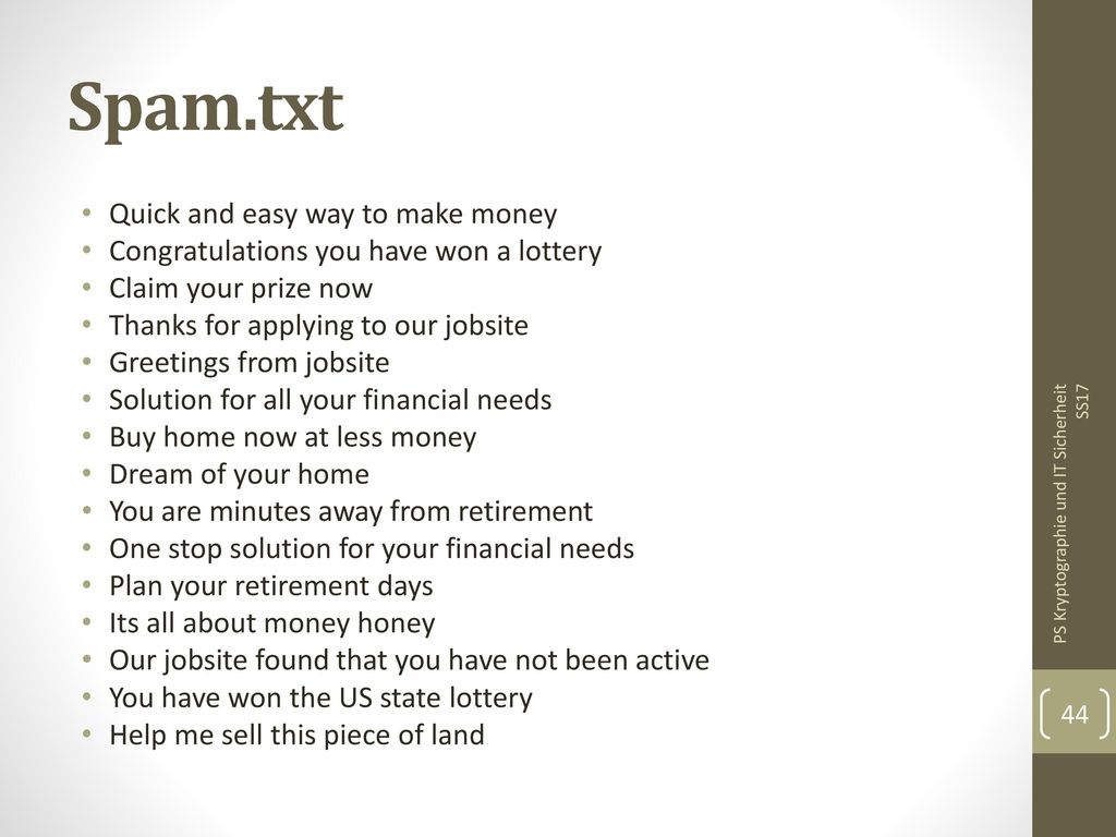Spam.txt Quick and easy way to make money