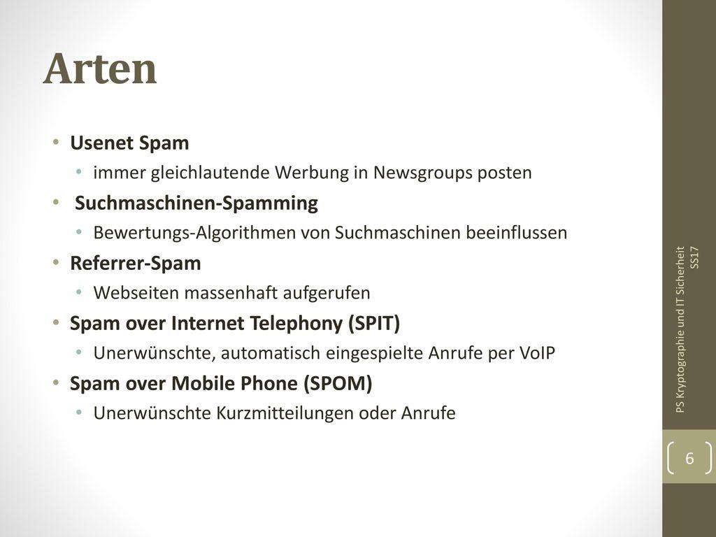 Arten Usenet Spam Suchmaschinen-Spamming Referrer-Spam