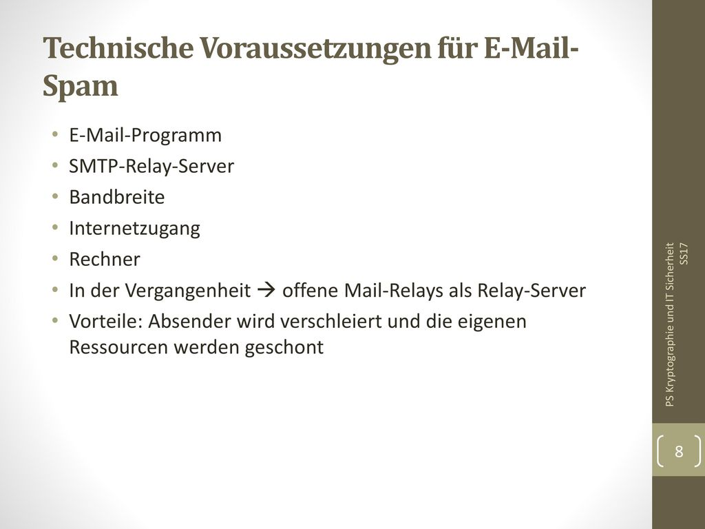 Technische Voraussetzungen für E-Mail-Spam