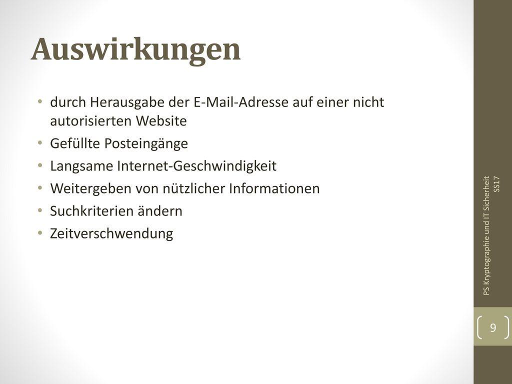 Auswirkungen durch Herausgabe der E-Mail-Adresse auf einer nicht autorisierten Website. Gefüllte Posteingänge.