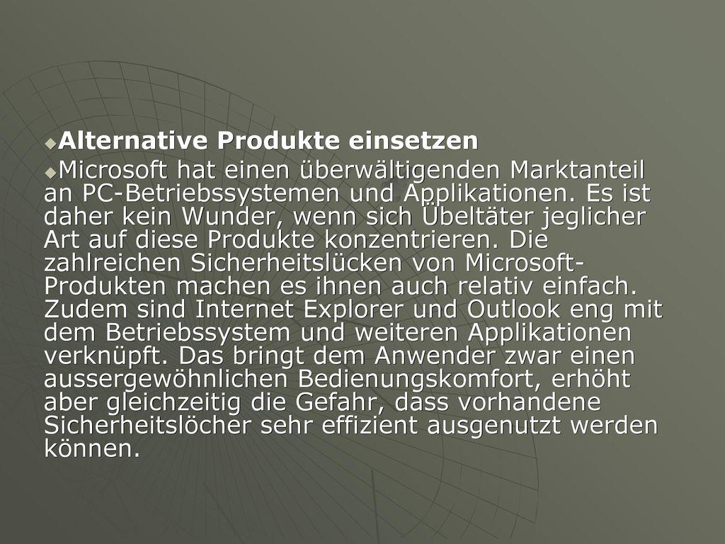 Alternative Produkte einsetzen