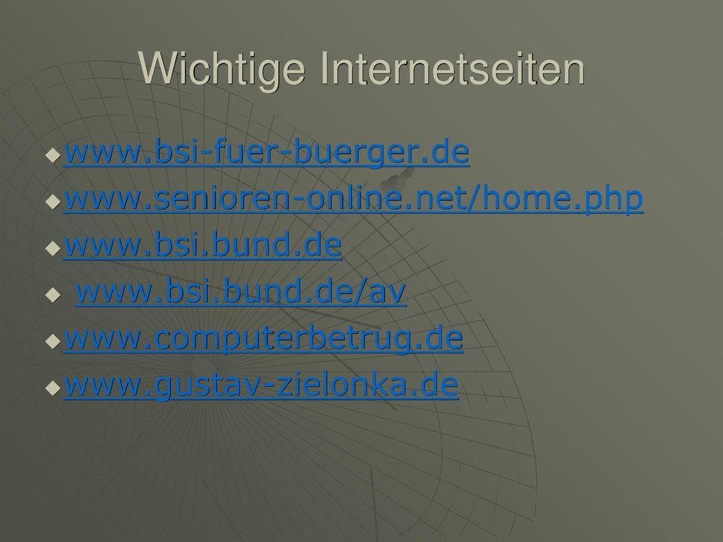 Wichtige Internetseiten