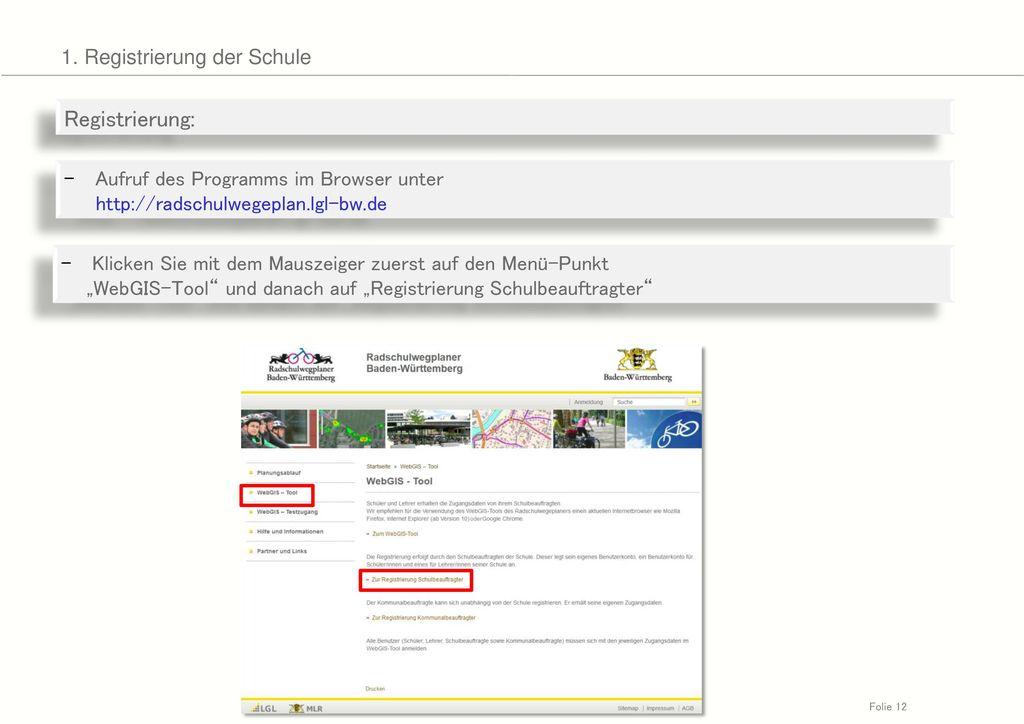 Registrierung: 1. Registrierung der Schule