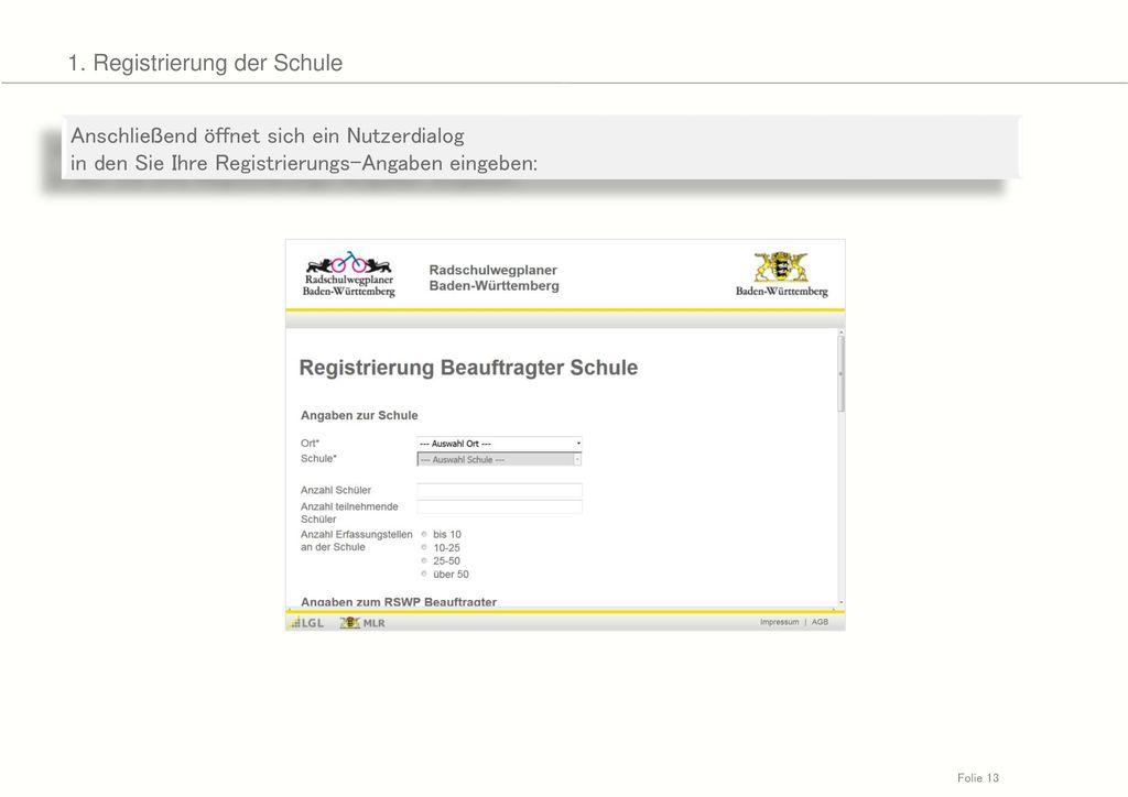 1. Registrierung der Schule