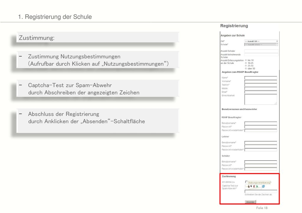 Zustimmung: 1. Registrierung der Schule