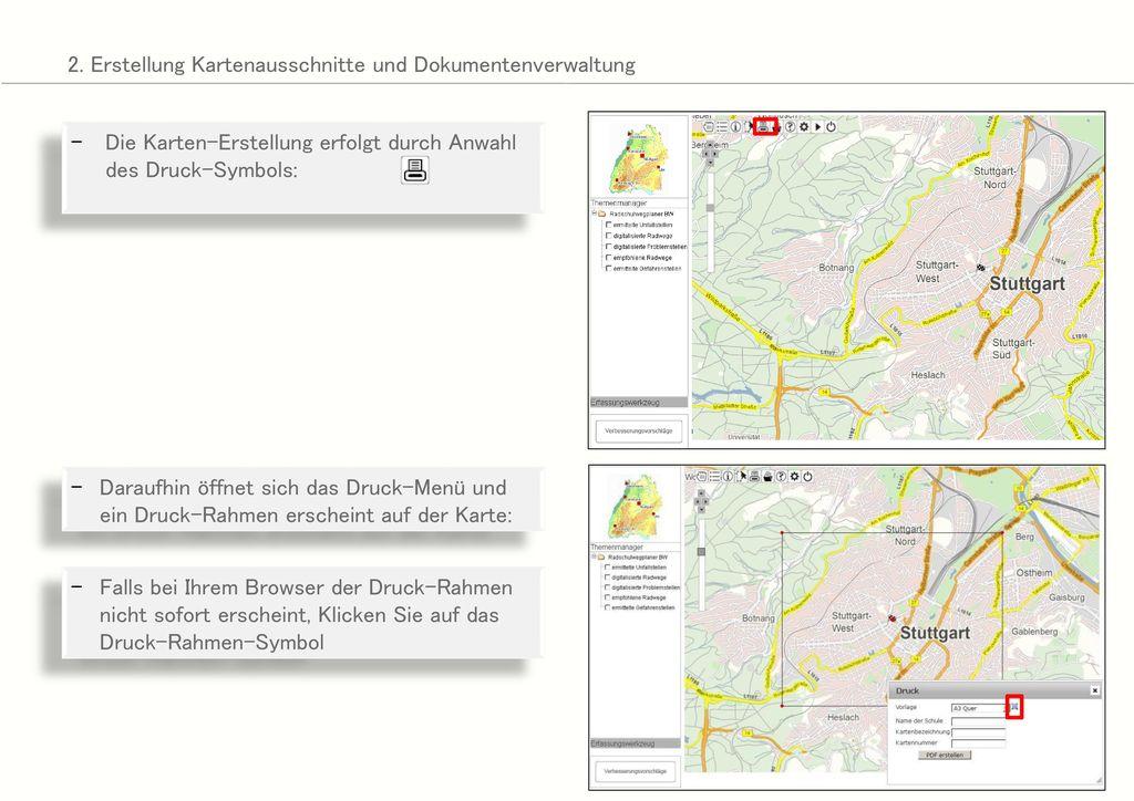 2. Erstellung Kartenausschnitte und Dokumentenverwaltung