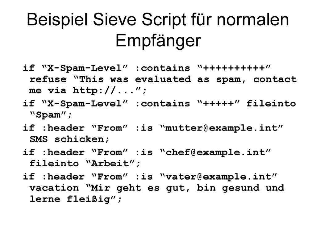 Beispiel Sieve Script für normalen Empfänger