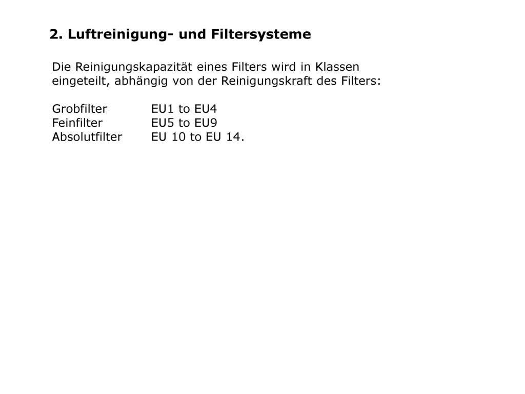 2. Luftreinigung- und Filtersysteme