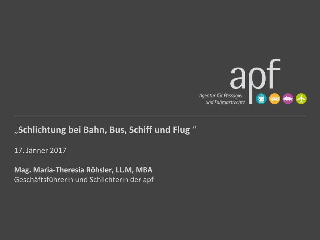 """""""Schlichtung bei Bahn, Bus, Schiff und Flug"""