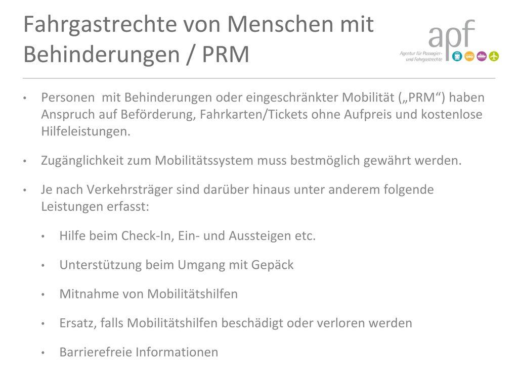 Fahrgastrechte von Menschen mit Behinderungen / PRM