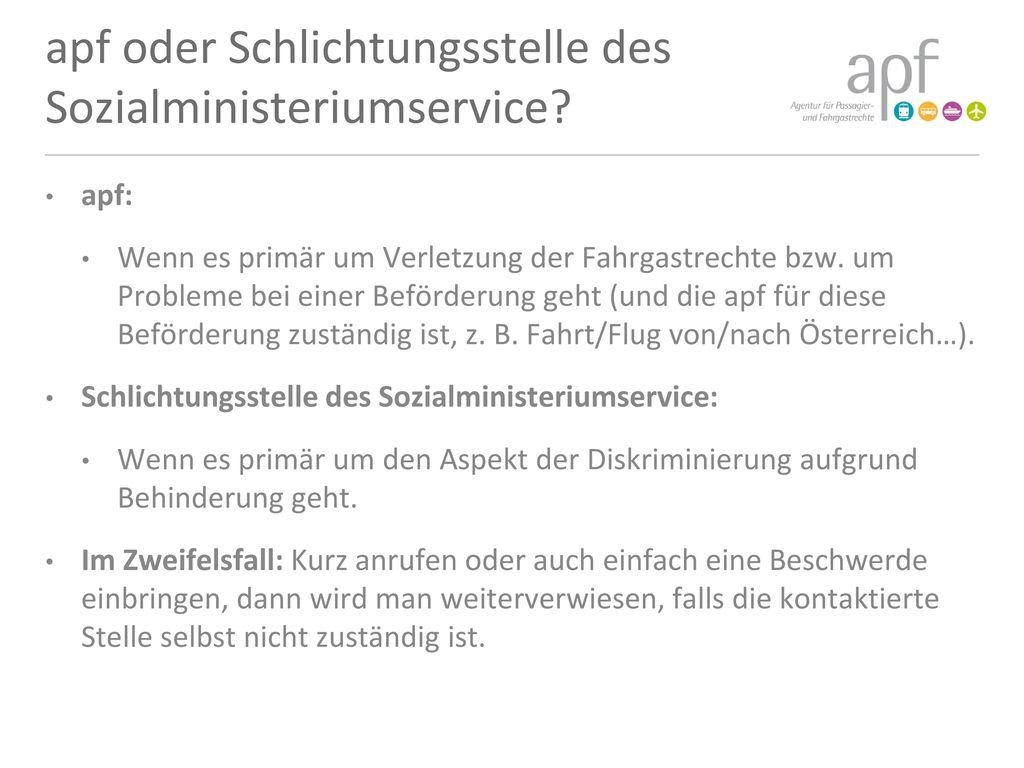 apf oder Schlichtungsstelle des Sozialministeriumservice