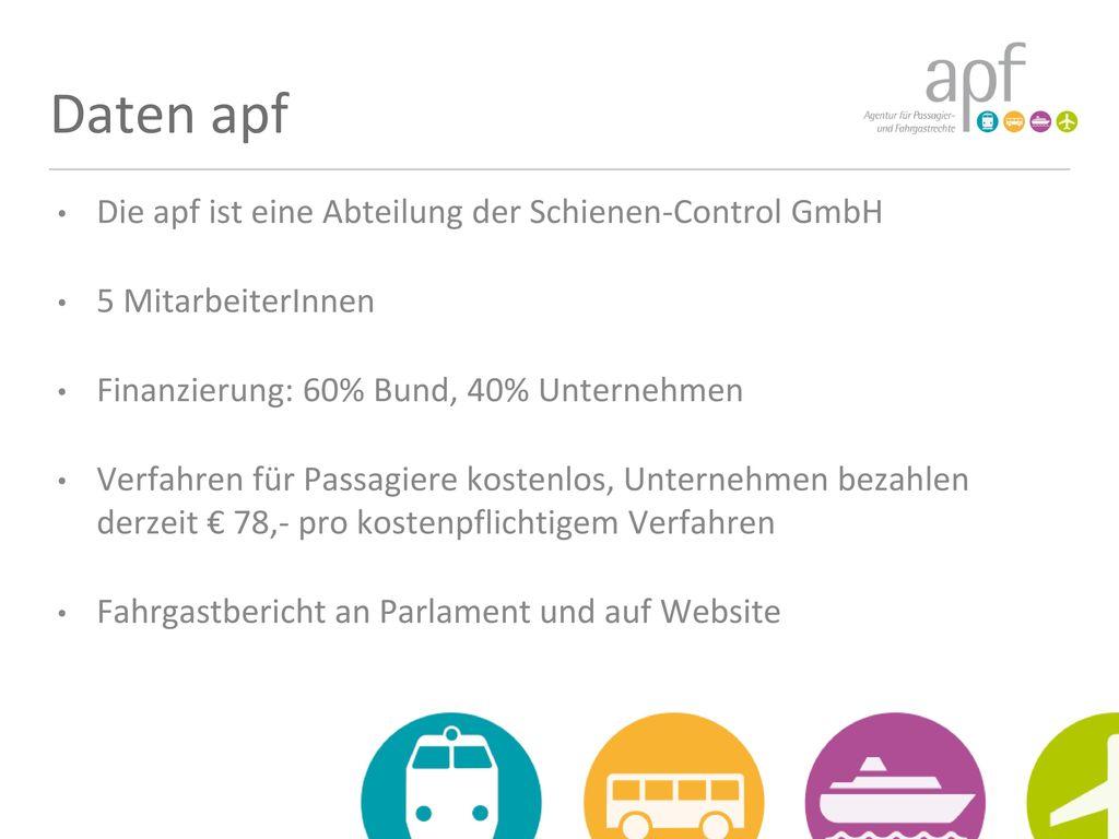 Daten apf Die apf ist eine Abteilung der Schienen-Control GmbH