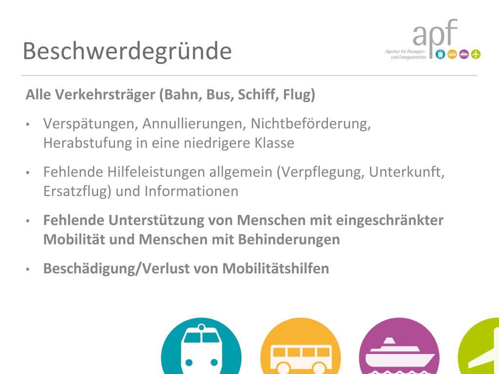 Beschwerdegründe Alle Verkehrsträger (Bahn, Bus, Schiff, Flug)