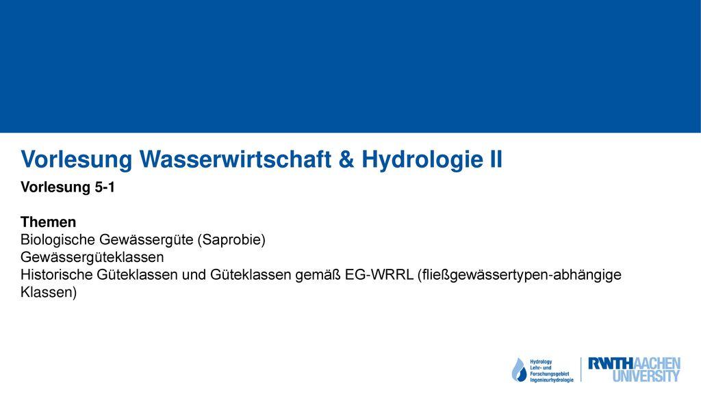 Vorlesung Wasserwirtschaft & Hydrologie II