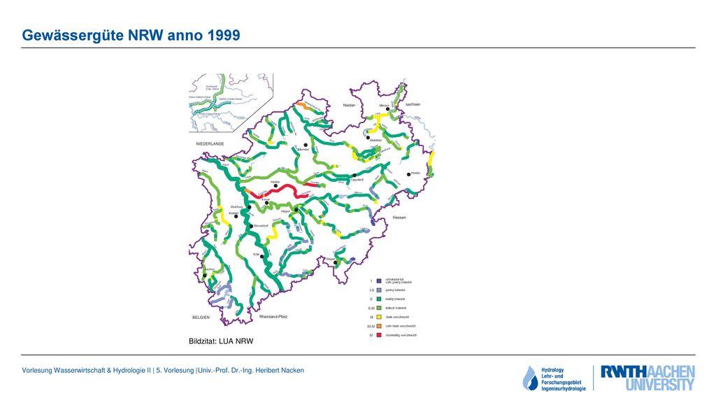 Gewässergüte NRW anno 1999 Bildzitat: LUA NRW