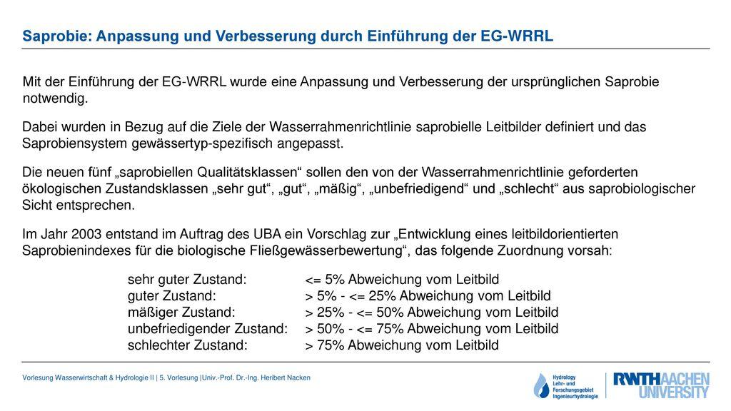 Saprobie: Anpassung und Verbesserung durch Einführung der EG-WRRL