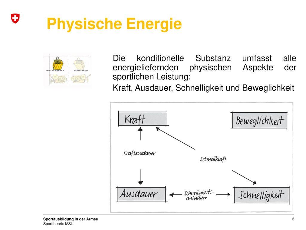 Physische Energie Die konditionelle Substanz umfasst alle energieliefernden physischen Aspekte der sportlichen Leistung: