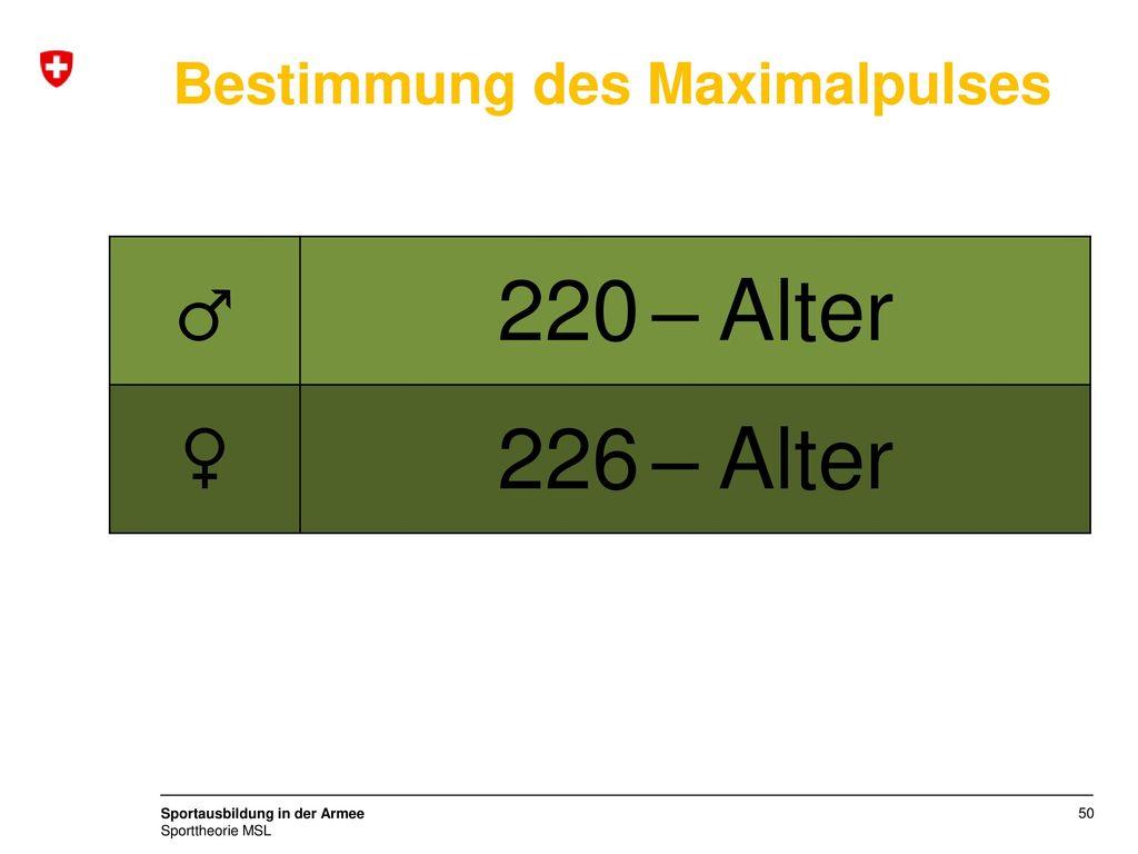 ♂ 220 – Alter ♀ 226 – Alter Bestimmung des Maximalpulses