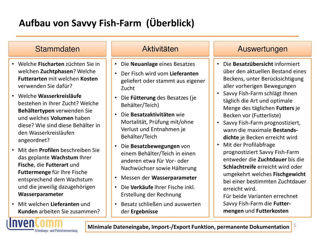 Aufbau von Savvy Fish-Farm (Überblick)