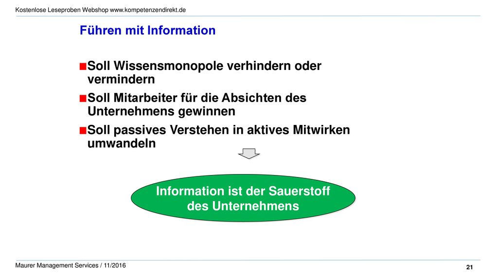 Information ist der Sauerstoff