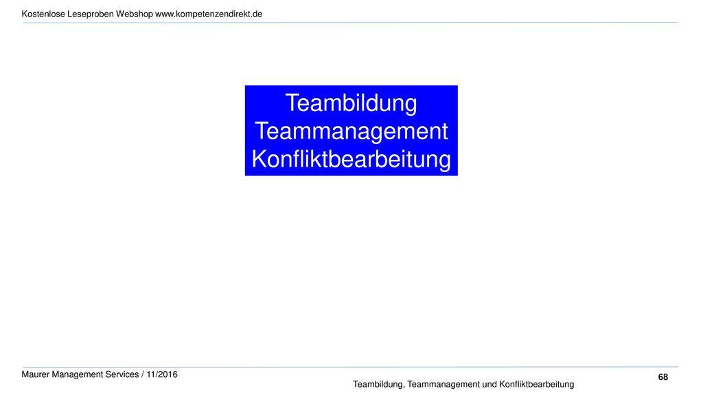 Teambildung Teammanagement Konfliktbearbeitung