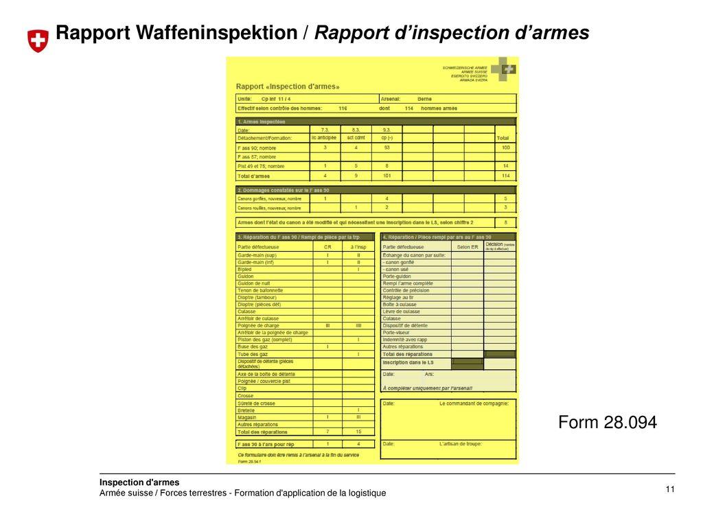 Rapport Waffeninspektion / Rapport d'inspection d'armes